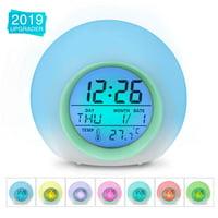 Alarm Clock,Kids Alarm Clock,7 Colors Changing Light Digital Clock for Boys and Girls ,with Indoor Temperature Calendar, Alarm Clock for Bedrooms, Wake Up Light,Kid Clock,Battery clock