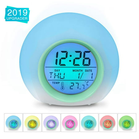 Alarm Clock,Kids Alarm Clock,7 Colors Changing Light Digital Clock for Boys and Girls ,with Indoor Temperature Calendar, Alarm Clock for Bedrooms, Wake Up Light,Kid Clock,Battery