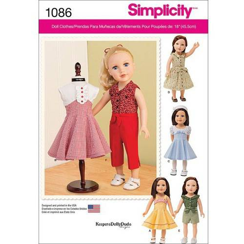 - Simplicity 18 Doll Clothes Pattern, 1 Each