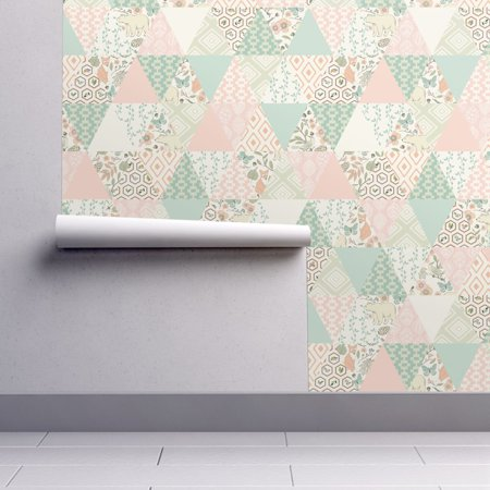 Removable Water-Activated Wallpaper Pastel Patchwork Aqua Mint Pink