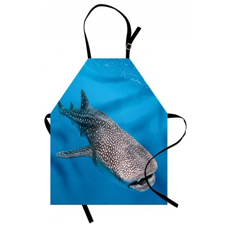 Sea Animals Apron Whale Shark Swimming Predators Hunter Clear Water under the Sea Picture Print, Unisex Kitchen Bib Apron with Adjustable Neck for Cooking Baking Gardening, Dimgray Blue, by Ambesonne (Shark Apron)