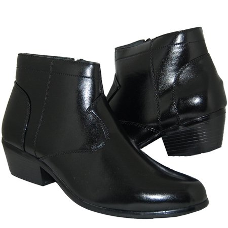 KRAZY SHOE ARTISTS 2 Inch Cuban Heel Black Ankle Boot