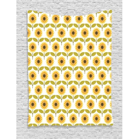 Sunflower Decor Wall Hanging Tapestry, Sunflowers Pattern Autumn Country Style Decorating Retro Illustration Print, Bedroom Living Room Dorm Accessories, By Ambesonne ()
