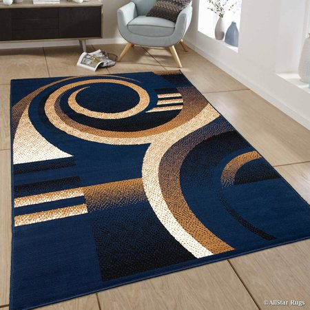 Allstar Blue Area Rug Contemporary Abstract Traditional