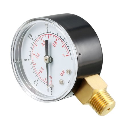 "Pressure Gauge , 0-15 PSI/0-1 Bar , 2"" Dial Display ,1/4"" BSPT Male Bottom Mount - image 3 of 4"