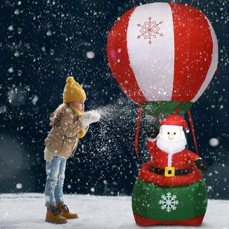 Costway 6' Christmas Decoration Inflatable Santa Claus Hot-air Balloon Lighted Outdoor ()
