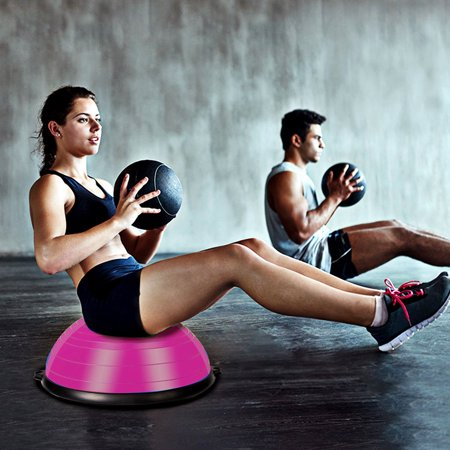 """23"""" Pink Yoga Ball Balance Trainer w/ Pump Home Exercise Training Fitness - image 3 of 10"""