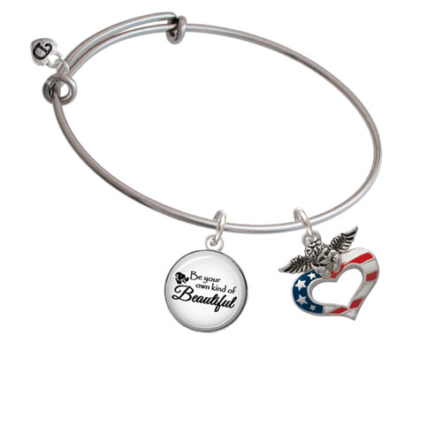 Patriotic Guardian Angel Heart Be Your Own Kind of Beautiful Bangle Bracelet