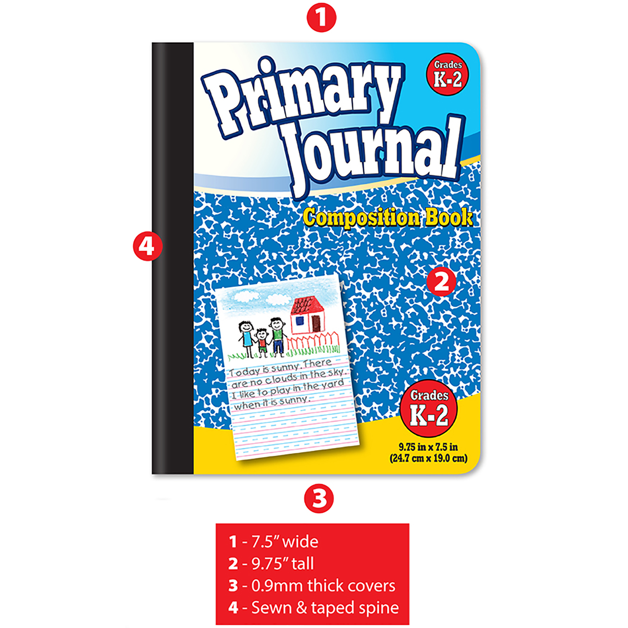 100 sheet//book Red /& Blue 2//PK BAZIC Primary Journal Book for K-2 grade kids
