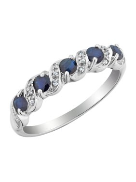 Dark Blue Sapphire Ring with Diamonds 3/10 Carat (ctw) in 10K White Gold