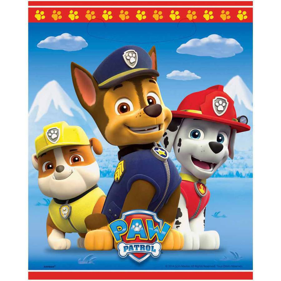 Plastic PAW Patrol Goodie Bags, 9 x 7 in, 8ct