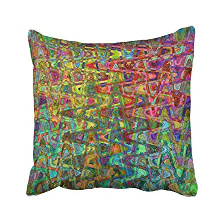 12 Inch Square Toss Pillow - WinHome Multicolor Glitter Artistic Popular Stripe Painting Chevron Stripe Toss Pattern Polyester 18 x 18 Inch Square Throw Pillow Covers With Hidden Zipper Home Sofa Cushion Decorative Pillowcases