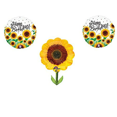 SUNFLOWERS Happy Birthday Balloons Decoration Supplies Summer Frozen 1st by Anagram - Sunflower Balloon