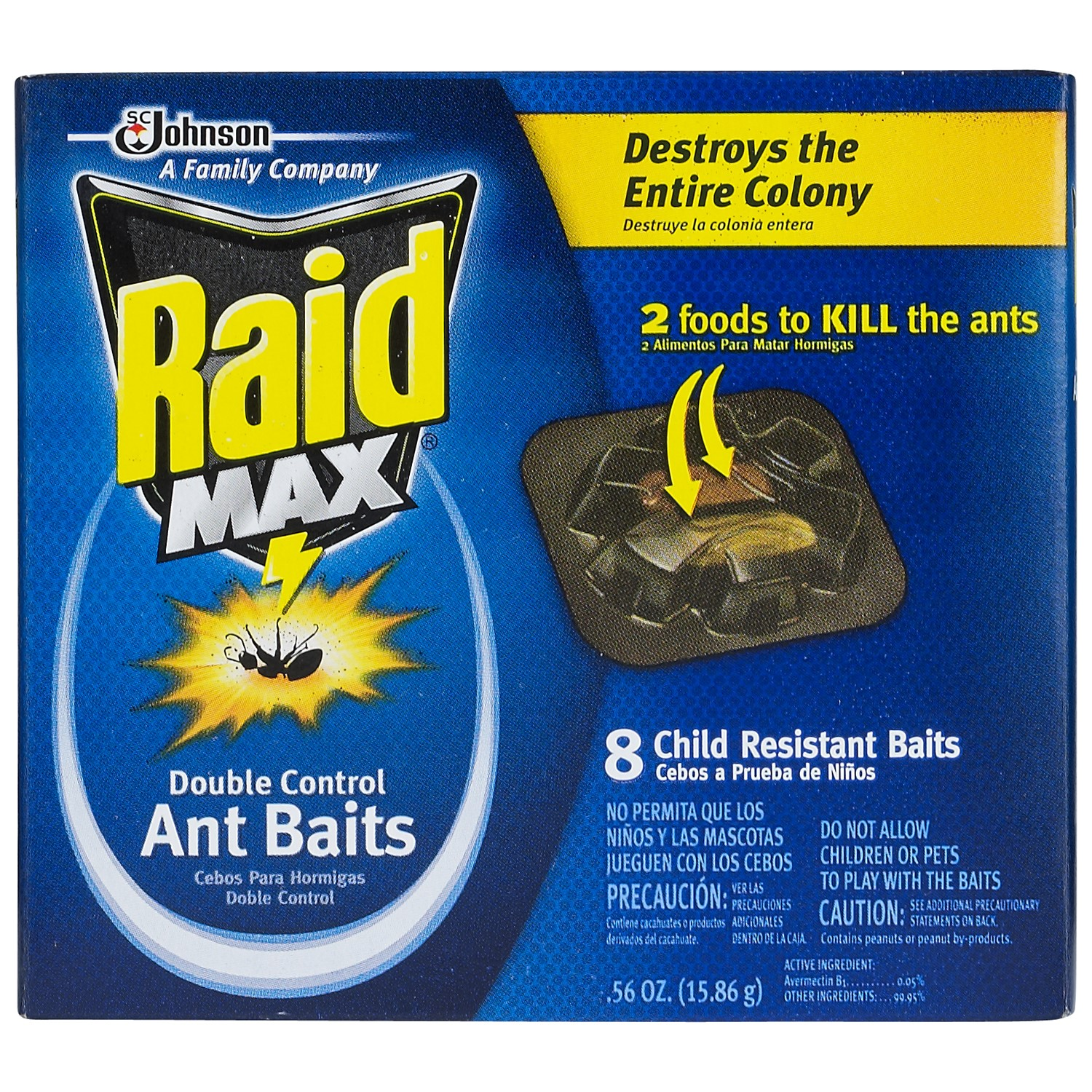 RAID MAX? DOUBLE CONTROL ANT BAIT 8 COUNT ~