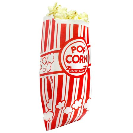 50 Themed Party (Popcorn Bags. Coated for Leak/Tear Resistance. Single Serving 1oz Paper Sleeves in Nostalgic Red/White Design. Great Movie Theme Party Supplies or for Old Fashioned Carnivals & Fundraisers!)