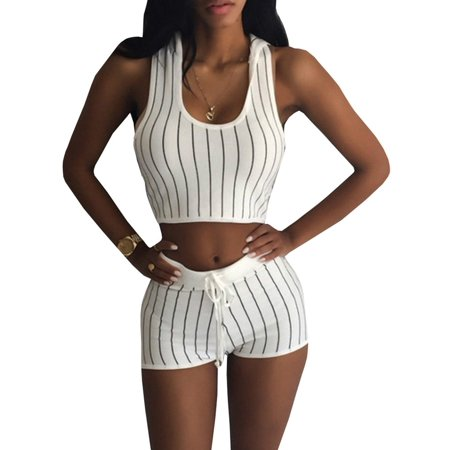 Women Striped 2 Pieces Set Sports Hooded Tank Top & Shorts