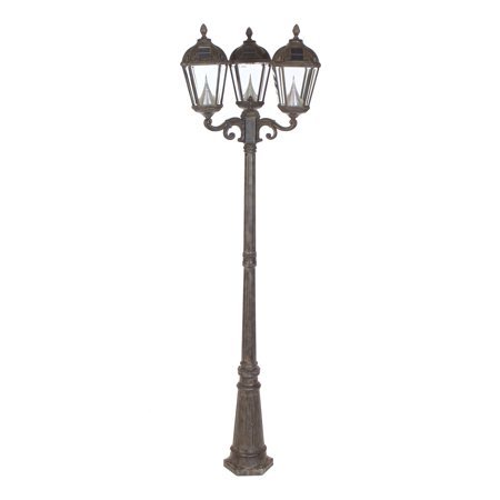 gama sonic royal triple light solar lamp post. Black Bedroom Furniture Sets. Home Design Ideas