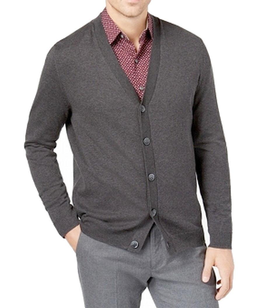 Tasso Elba Men/'s Charcoal Heather Grey Cardigan Hang Zip-Up Sweater Sizes M-2XL