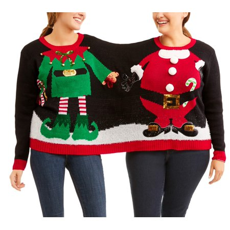 holiday time holiday time womens ugly christmas sweater elfsanta double walmartcom - Ugly Christmas Sweater Elf