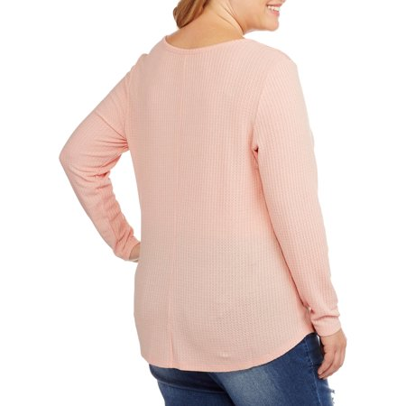 Faded Glory Women's Plus Thermal Tunic with Shoulder Lace Detail
