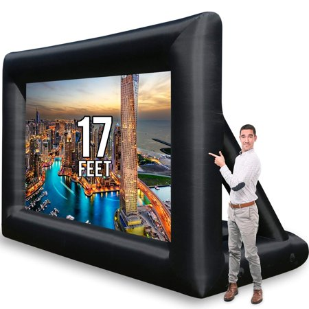 Jumbo 16 Feet Inflatable Outdoor and Indoor Theater Projector Screen - Includes Inflation Fan, Tie-Downs and Storage Bag