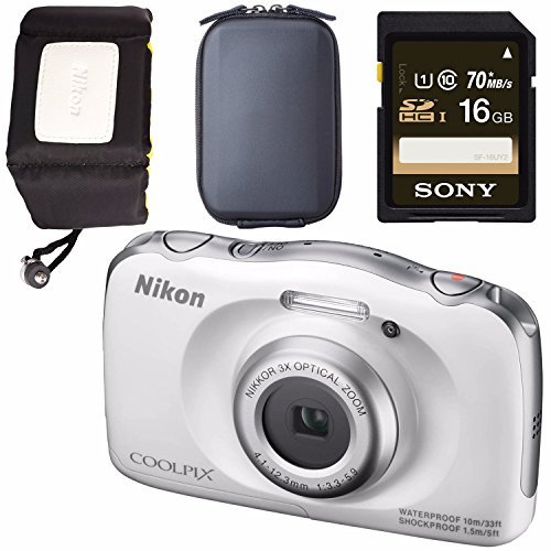 Nikon COOLPIX S33 Digital Camera (White) 26495 + Sony 16GB SDHC Card + Waterproof Floating Strap Bundle