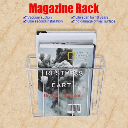 Wall Mounted Bathroom Magazine Rack - WALFRONT Stainless Steel Sucker Bathroom Magazine Newspaper Holder Basket Wall Mounted Storage Rack, Magazine Holder Basket, Bathroom Magazine Rack