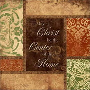 Christ Be The Center Home Traditional Abstract Panels Religious Painting Tan & Green Canvas Art by Pied Piper Creative