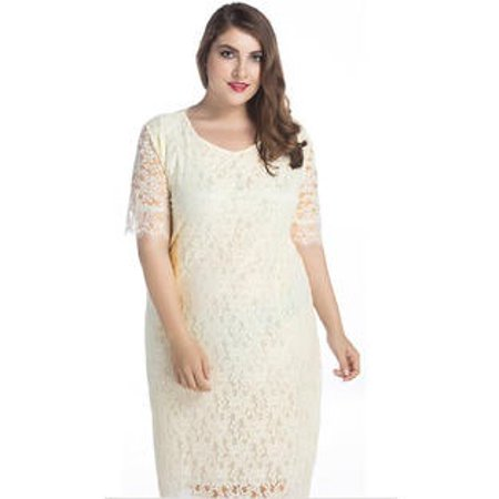 Women Plus Size Bodycon Lace Dress Beige