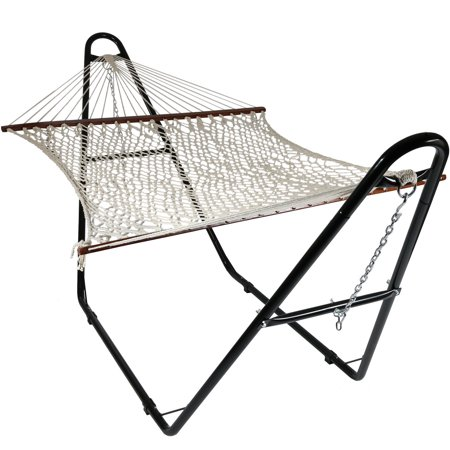 Sunnydaze Cotton Double Wide 2-Person Rope Hammock with Spreader Bars and Multi-Use Hammock Stand, 134 Inch Long x 59 Inch Wide, 815008023810