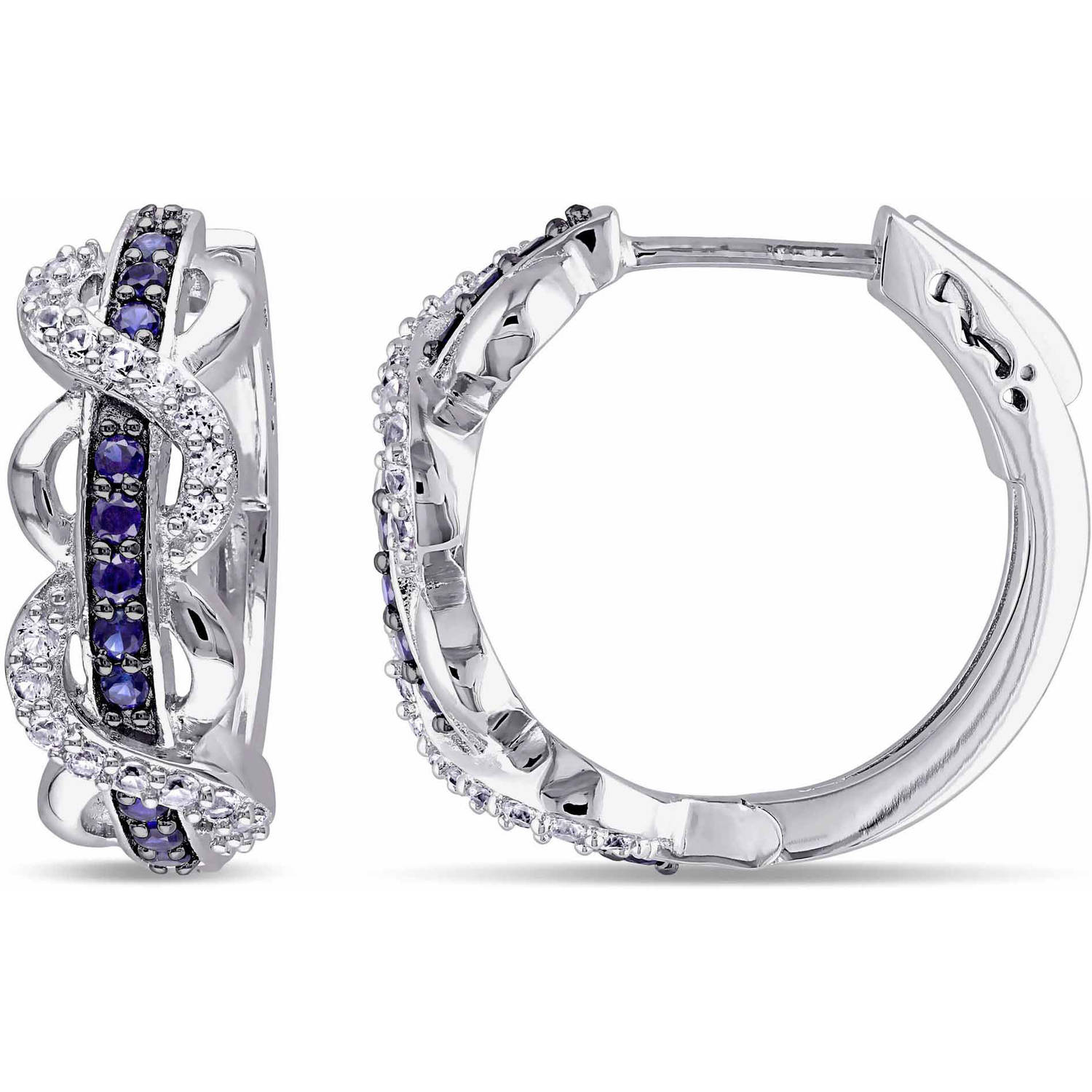 Tangelo 4/5 Carat T.G.W. Created Blue and White Sapphire Sterling Silver Infinity Clip-Back Earrings