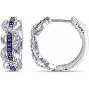 4/5 Carat T.G.W. Created Blue and White Sapphire Sterling Silver Infinity Clip-Back Earrings