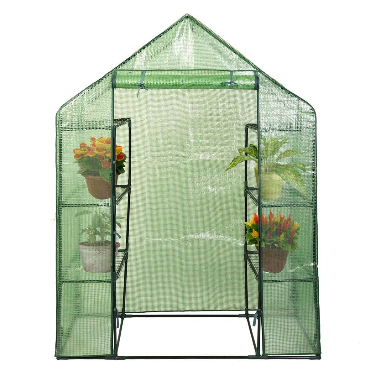 Costway Portable Mini Walk In Outdoor 4 Tier 8 Shelves Greenhouse by Costway