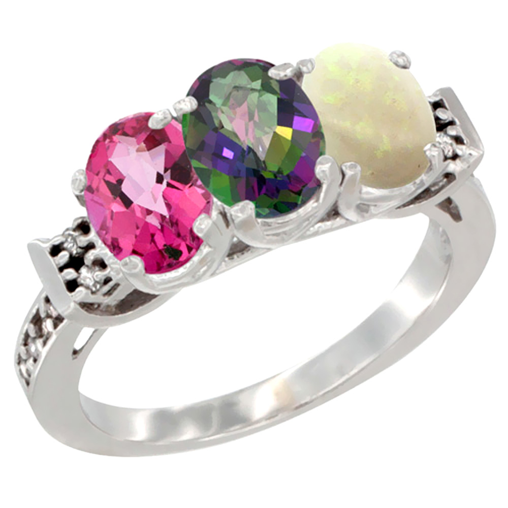 10K White Gold Natural Pink Topaz, Mystic Topaz & Opal Ring 3-Stone Oval 7x5 mm Diamond Accent, sizes 5 10 by WorldJewels