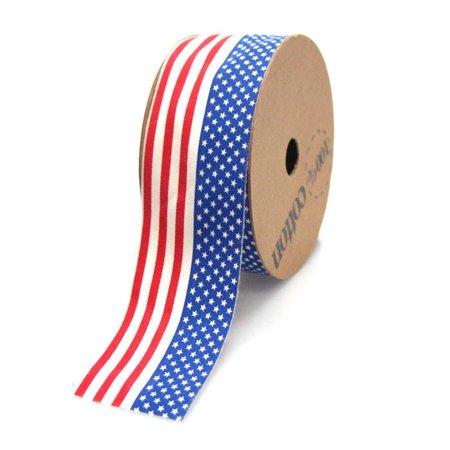 Flag Ribbon (USA American Flag Print Cotton Ribbon, 1-1/2-inch,)