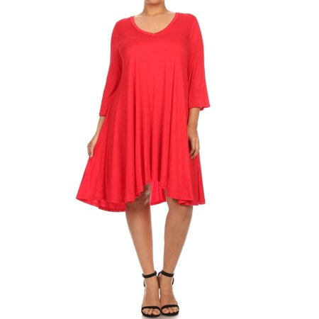 3d807fb6637 NMC - Women's PLUS trendy style, solid, 3/4 sleeve dress. - Walmart.com