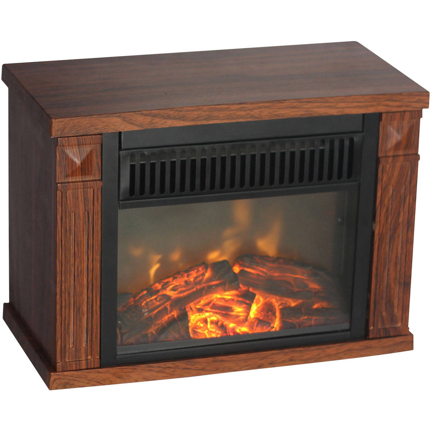 Comfort Glow Bookshelf Mini Fireplace Wood Grain Walmart Com