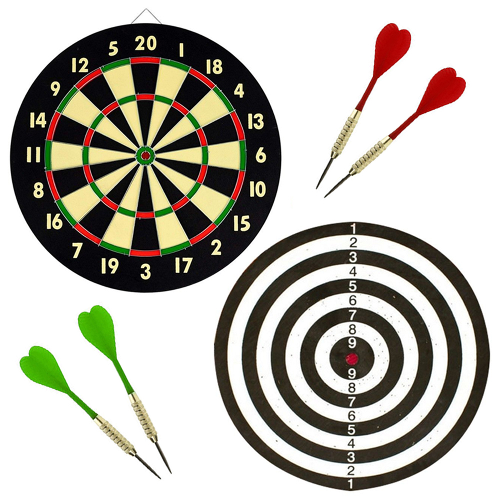 Dart Board Game Magnetic 2 Sided Dartboard Bulls-eye Target /& 5 Safe Dart