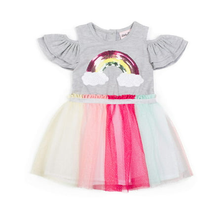 Toddlers Tutu Dress (Short Sleeve Jersey & Rainbow Sparkle Tutu Dress (Baby Girls & Toddler)