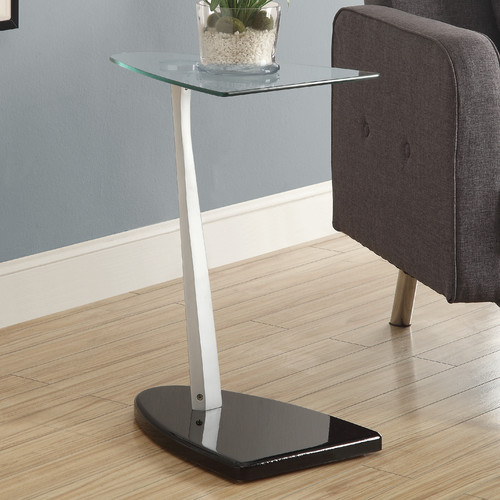 Monarch Accent Table Glossy Black / Silver With Tempered Glass