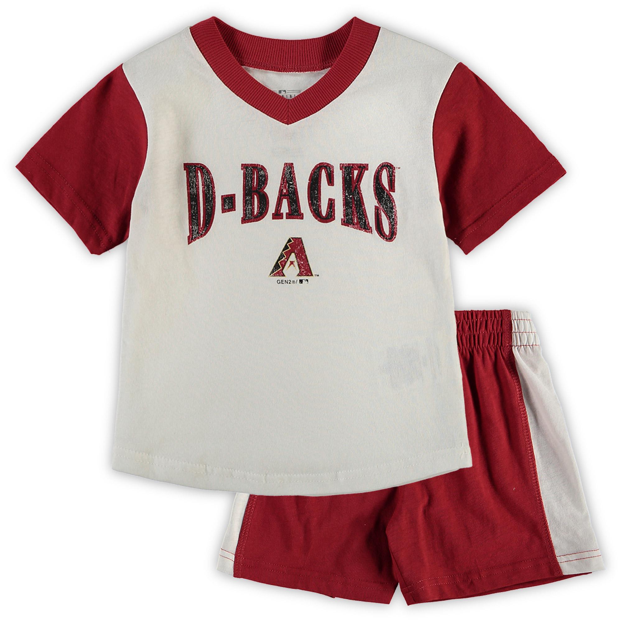 Arizona Diamondbacks Toddler Little Hitter V-Neck T-Shirt & Shorts Set - White/Red