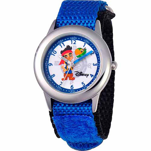 Disney Jake and the Neverland Pirates Boys' Stainless Steel Watch, Blue Strap