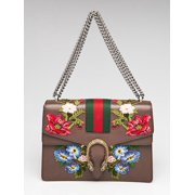 Gucci Dionysus Medium Chain Bag Brown Leather Red Flower Italy Handbag New