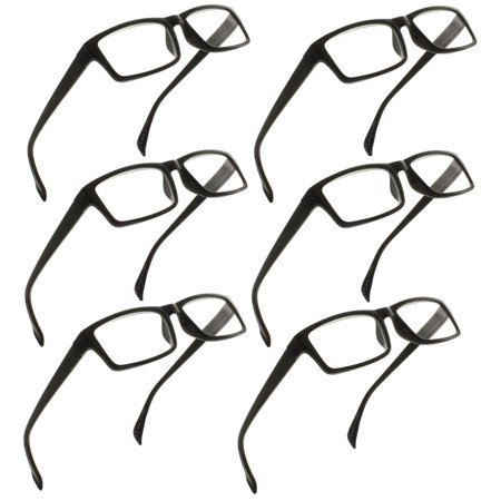 FIORE Reading Glasses 1.25 | 6 Pack of Readers for Men and Women | 6 Black