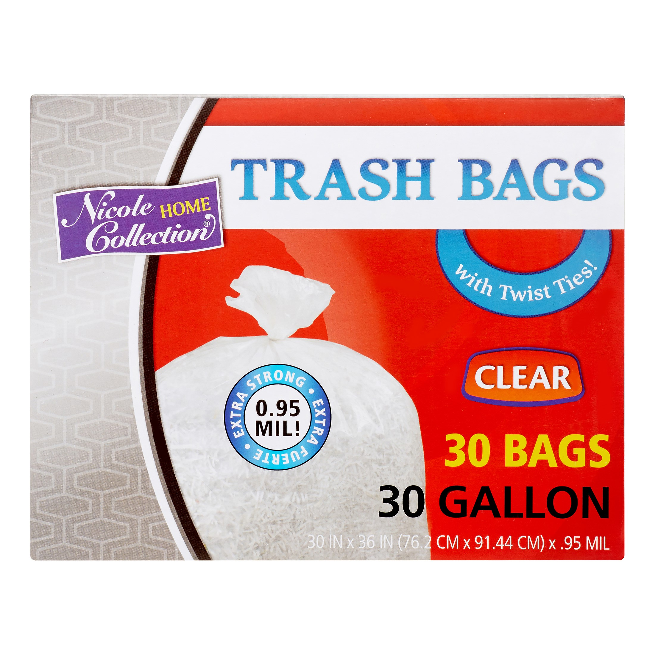 Nicole Home Collection Trash Bags with Ties, 30 Gallon, Clear, 30 Ct