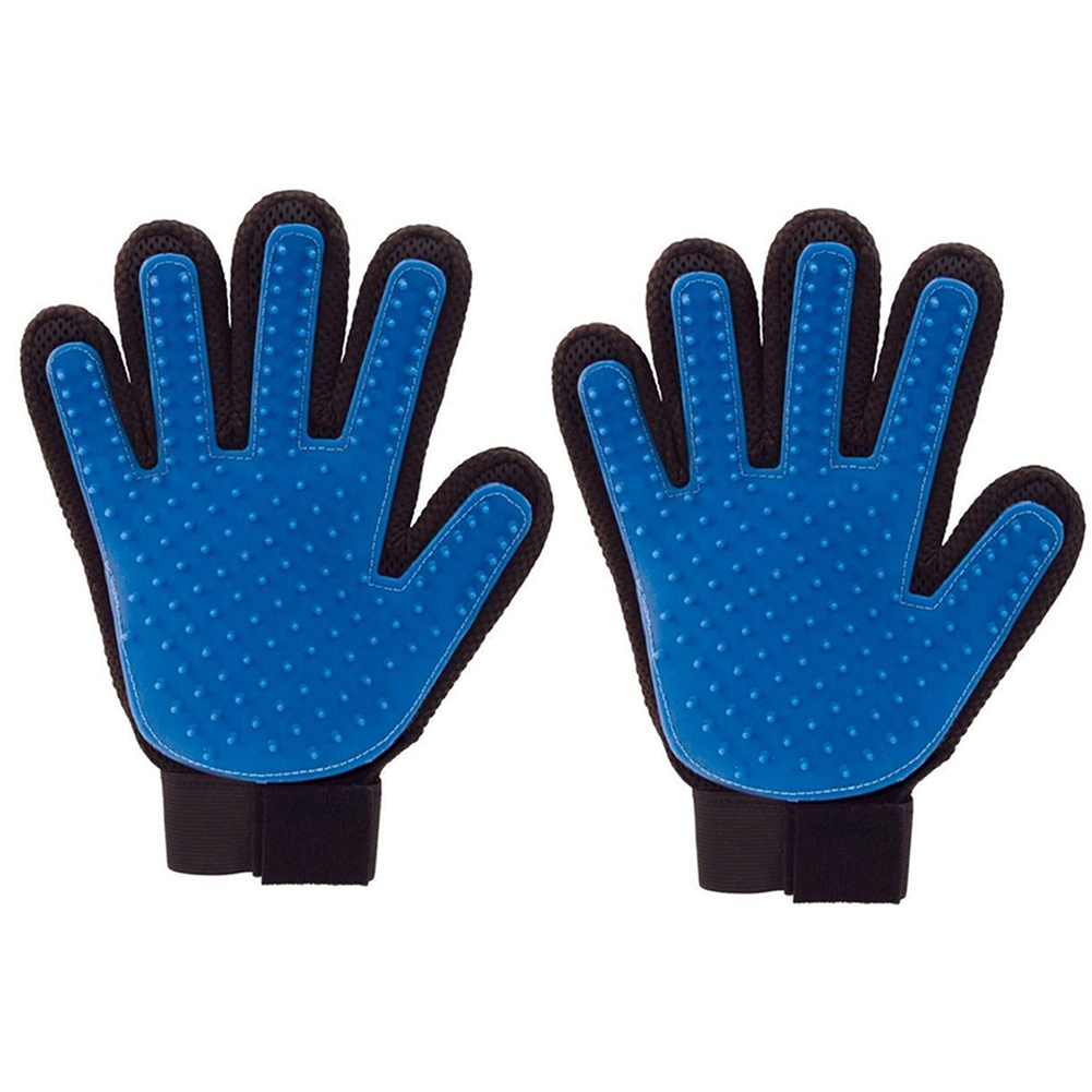 2 Pcs Pet Massage Glove Dog Cat Rubber Hair Removing Grooming Cleaning Bath Brush Comb Glove (Blue)