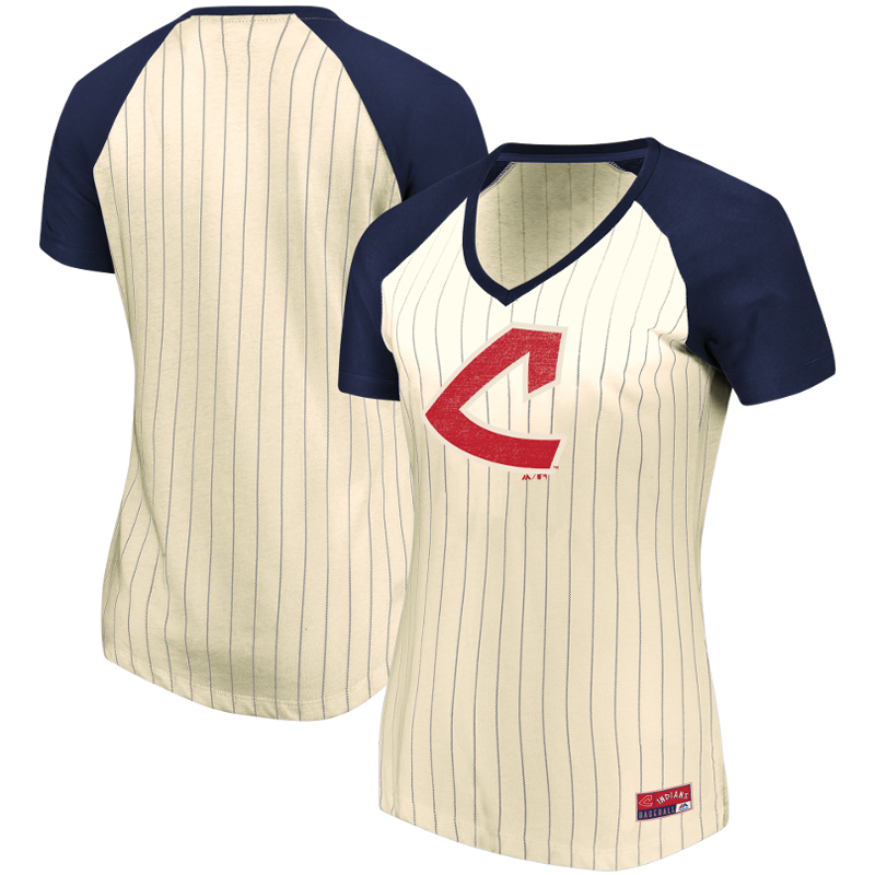 Cleveland Indians Majestic Women's Concept of Winning Pinstripe V-Neck Raglan T-Shirt - Natural