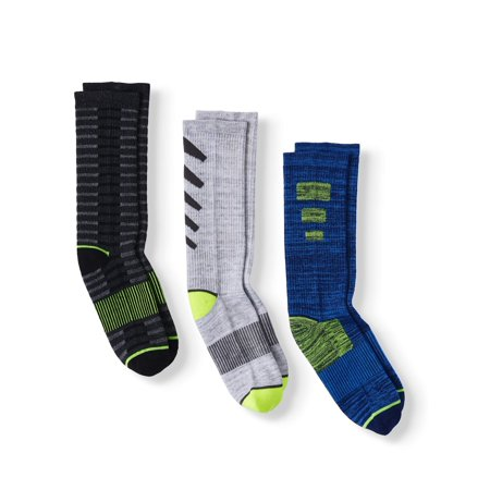 Athletic Works Boys Cushioned Crew Socks, 3-Pack
