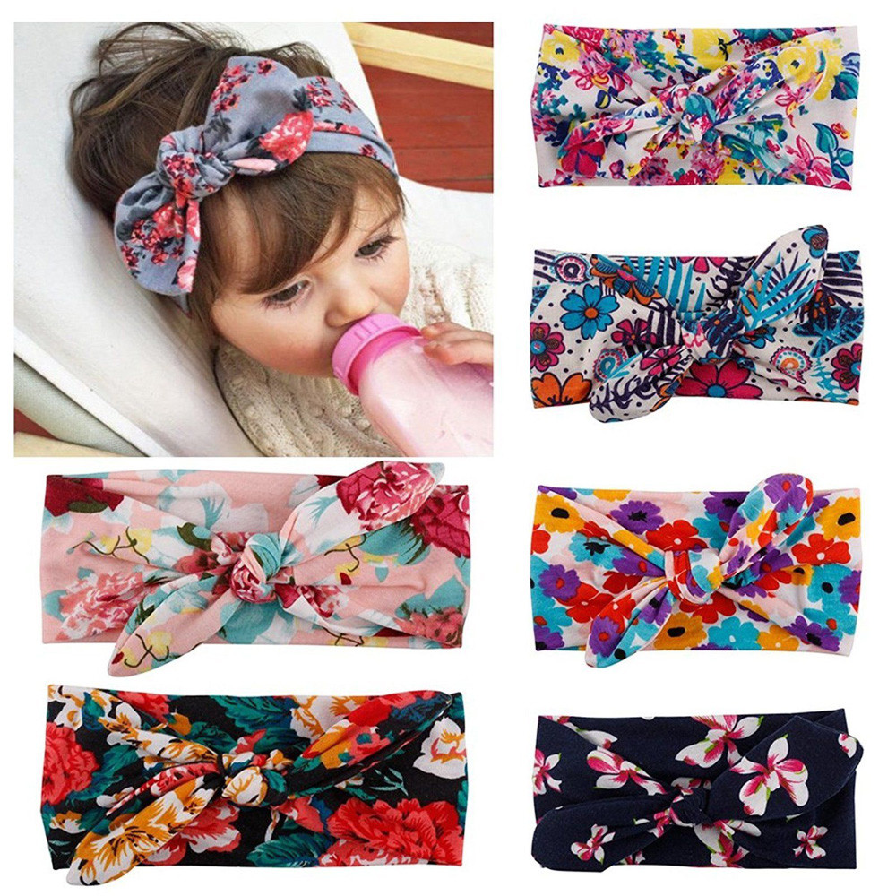 Outtop 6pc Baby Unisex Print Knot Cross Headband Baby Hair Accessories