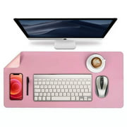 """Desk Pad Protector, Mouse Pad, Office Mat, (31.5"""" x 15.7"""") Non-Slip PU Leather Blotter - Pink"""